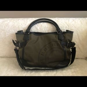 Burberry Olive Green Polyamide Large Hangbag